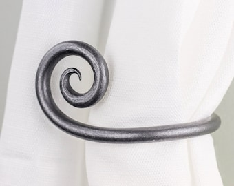 Scroll Curtain Tie Back | Curtain Holdbacks, Forged Iron window treatment | tieback hook for a rustic french country decor | One Pair