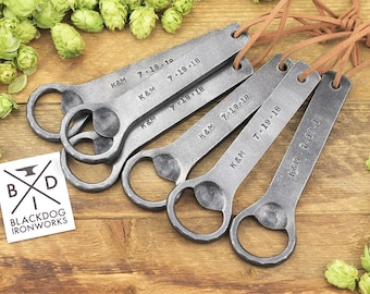 Personalized Bottle Opener | Hand Forged Wrought Iron, Engraved Beer Opener | Great Gift for Men, Groomsmen, or Fathers Day