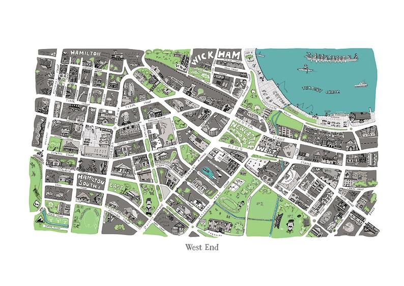 Australia Map Newcastle.West End Illustrated Map Newcastle Nsw Australia
