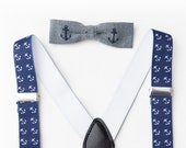 Navy Anchor Boys Suspenders- Toddler Suspenders- Baby Suspenders- Baby Boy Suspenders- Suspenders- Kids Suspenders- Wedding Suspenders