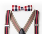 Baby Red Stripe Boys Suspenders- Bow Tie- Newborn Suspenders- Baby Boy Suspenders- Suspenders- Kids Suspenders- Wedding Suspenders