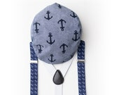 Baby Anchor Hat and Suspenders for Boys - Anchor Suspenders- Baby Suspenders- Newborn Suspenders- Navy Suspenders- Wedding Suspenders