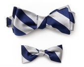 Daddy and Me Bow Tie Gift Set-  Fathers Day Gift- Groomsman Gift - Boys Navy Silk Bow Tie Navy & Silver - Toddler Bow Tie For Boys