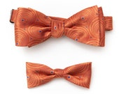 Orange Father Son Bow Tie Set - Matching Father's Day Gift Daddy and Me Bow Tie Gift Set-  Jacquard Bow Tie - Bow Tie For Men