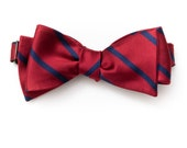 Men Silk Bow Tie - Father's Day Gift - Red Navy Silk Bow Tie - Bow Tie For Men - Self Tie Bow Tie - Repp Stripe - Butterfly Classic Bow Tie