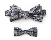 Paisley Bow Tie Set - Matching Father's Day Gift Daddy and Me Bow Tie Gift Set-  Jacquard Bow Tie - Black Bow Tie For Men