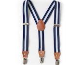 Toddler Navy Blue Leather Child Suspenders- Boy Suspenders- Baby Boy Suspenders- Suspenders- Kids Suspenders- Wedding Groomsmen