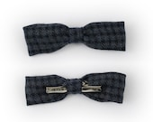 Kids Navy Bow Tie - Skinny Houndstooth Woo Boys Bow Tie - Clip On Bow Tie - Toddler Bow Tie For Boys