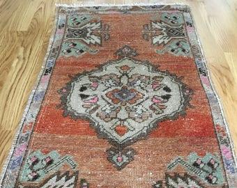 Small Boho Area Rug (102 x 45cm) Small Rug, Doormat Rug, Vintage Rug, Small Turkish Rug, Living Room Rug, Bathroom Rug, Bedroom Carpet Rug