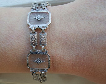 "Vintage 10k Camphor Glass and Diamond Filigree Bracelet- 7"" -10 grams app- Outstanding!!"