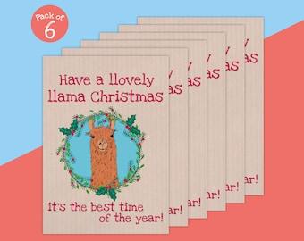 Llama Card, Llama Christmas, Christmas Card, Illustrated Greetings Card, Happy Christmas Llama, Pack of 6