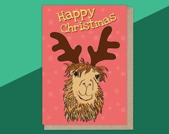 Llama Card, Llama Christmas, Christmas Card, Illustrated Greetings Card, Happy Christmas Llama