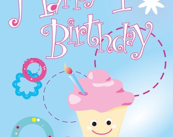 1st Birthday card on recycled card, A6 size