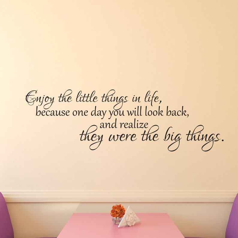 Family Wall Decal Inspirational Quote Home Wall Decal Inspirational Wall Decal Enjoy the Little Things Vinyl Wall Decal