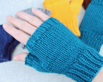 Knitting pattern: Fingerless gloves, basic solid color finger-less mitts for everyone, sizes men, women, children, toddlers, and babies