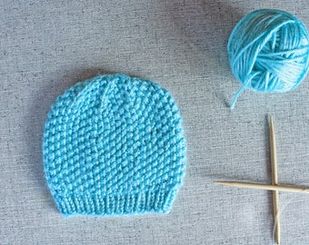 Knitting Pattern: Seed Stitch Textured Beanie Hat in baby, toddler, child, adult, adult XL sizes
