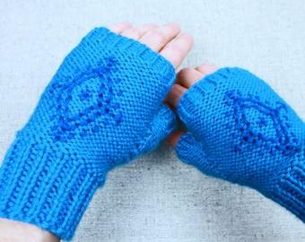 Anna's Fingerless Gloves, blue snowflake embroidered fingerless gloves inspired by Disney's Frozen princess Anna, light mittens for costume