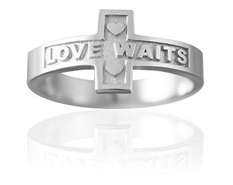 Girls Silver Purity Ring | LOVE WAITS Cross - Free Ship