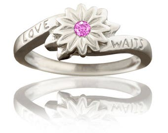 Purity Ring - Girl's Love Waits Flower in Sterling Silver with Pink Sapphire
