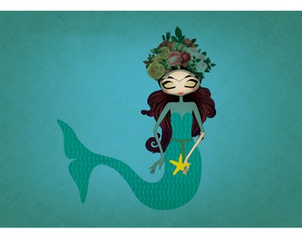 """Little Frida's Dream is to be a Mermaid print A4 A3 8""""x10"""""""