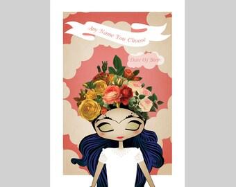 "Little Frida's Dream Customizable Personalized Print 8""x10"" Print A4 A3"
