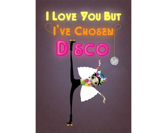 """Little Frida's Dream is to Roller Disco Print A4 A3 """"I Love You But I've Chosen Disco"""" 8""""x10"""""""