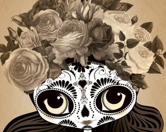 """Little Frida Kahlo """"Sepia Sadness"""" Day of the Dead Tattoo Print 8""""x10"""" A4 A3"""