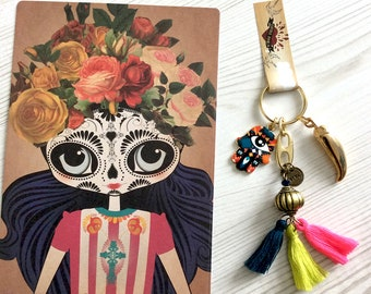 Viva la Frida Handmade Tassel Key-ring and Postcard, Hamsa Hand charm, chili pepper Charm