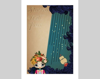 """Little Frida's Dream is to be worry free nautical print A4 A3 8""""x10"""" """"Storms will pass"""""""