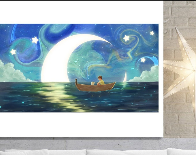 Boy In Boat Art, Wall Art, home decor, art prints, canvas and framed options, card option