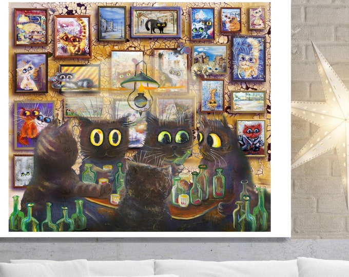 Funny Cats Art, Wall Art, home decor, art prints, canvas and framed options, card option