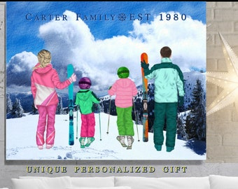 Ski Decor, Personalized Gifts For Parents, Family, Friends,Gift For Skiing Couple With Kids Present, Skiers Print, Christmas Ski Gifts