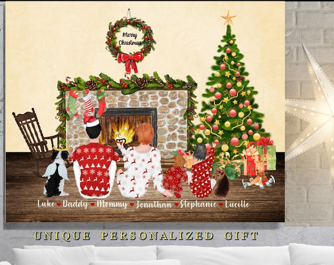 Personalized Christmas Gifts For Parents, Family, Gift For Christmas, Parents Gift, Unique Personalize Family Print Xmas Scene