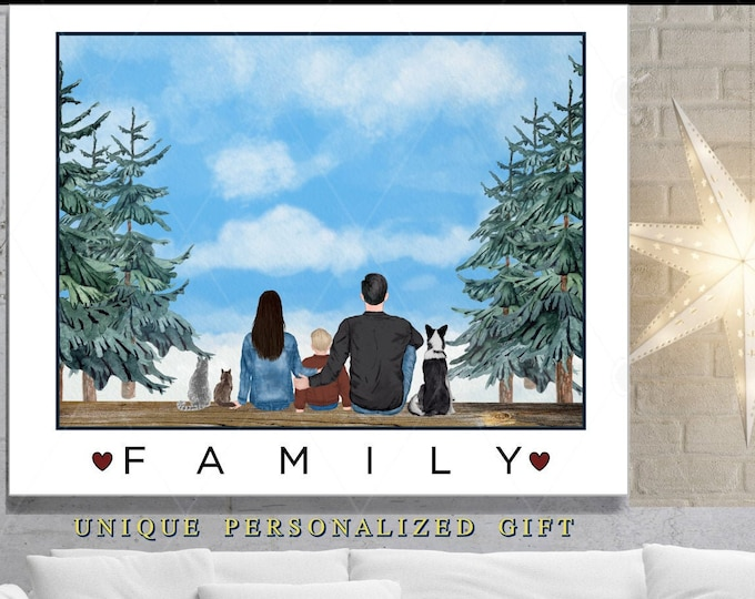 Personalized Family Gift, Christmas Gifts For Parents, Mom, Dad, Grandparent, Unique Gift Ideas From Kids Holiday Gift Mom Presents Portrait