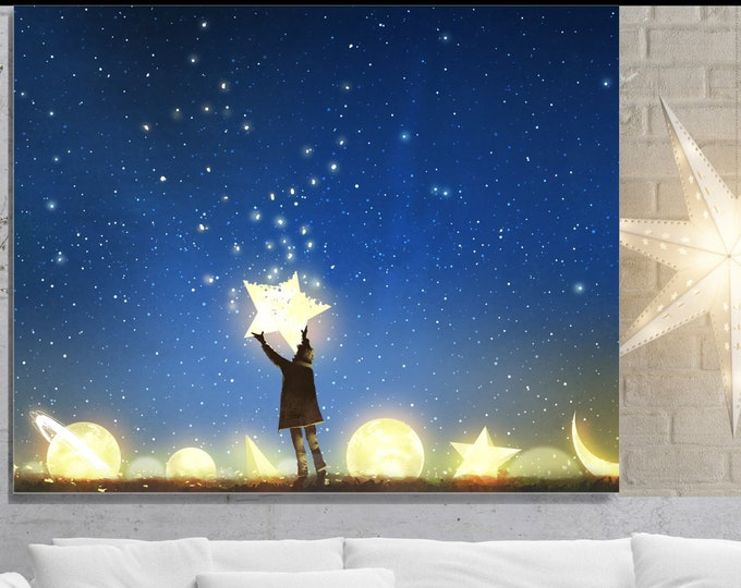 Reach For The Stars, Wall Art, home decor, art prints, canvas and framed options, card option
