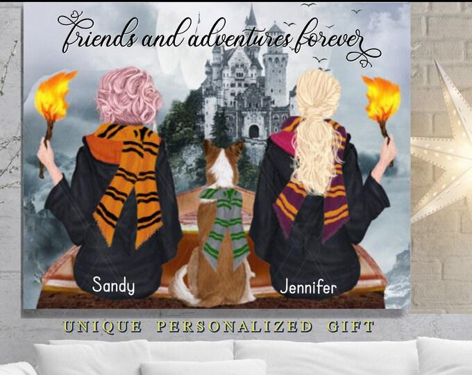 Wizard Girls, Best Friend Print, Personalized Friend Gifts, Besties, Bff, Friendship, Quote, Castle Adventure, Fun