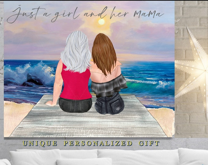 Personalized Mothers Day Gift, Unique Birthday Present, Gift Mom, Mother Daughter Portrait, Fun Mothers Day ideas Mother Daughter Gift Quote