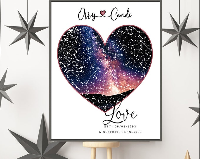 1 Heart Style Star Art Print, Anniversary Gift, Personalized Gifts, Wedding Gift, Engagement Gift Ideas