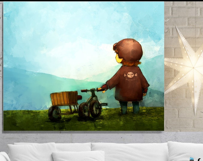 Boy And Bike, Wall Art, home decor, art prints, canvas and framed options, card option