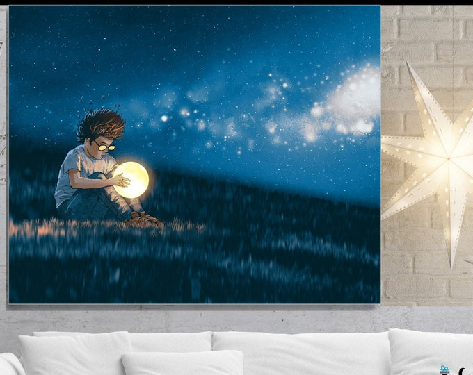 The World In His Hands, Wall Art, home decor, art prints, canvas and framed options, card option