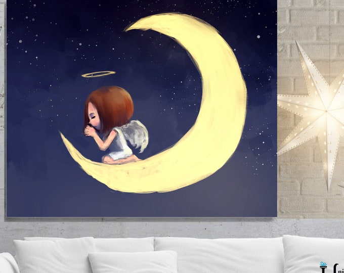 Crescent Moon Angel, Wall Art, home decor, art prints, canvas and framed options, card option