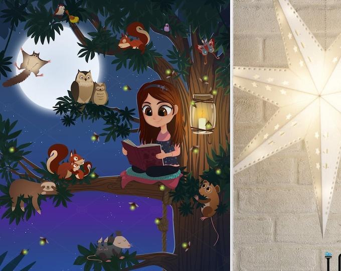 Custom Girls Room Decor, Girl Woodland Nursery Wall Art, Girl Reading on Tree Print, Unique Baby Gift Idea, Cute Kids Room