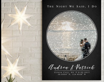 Night Sky Custom Star Map, Constellation Print 2nd Anniversary Gift for Man Personalize Engagement Gift, Unique Wedding Gift to Couple 1