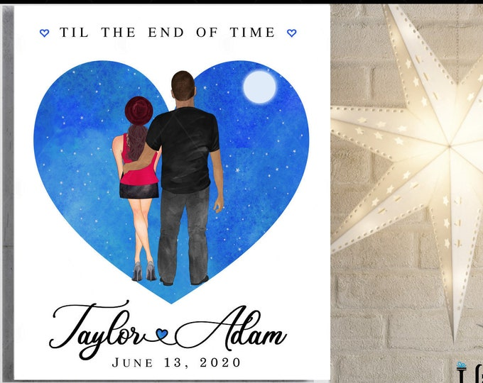 Anniversary Gift For Men, Starry Night Couples Portrait, Valentines Day Gift For Him, Husband, Moon, Names, Date, Quote Choice, Heart Art