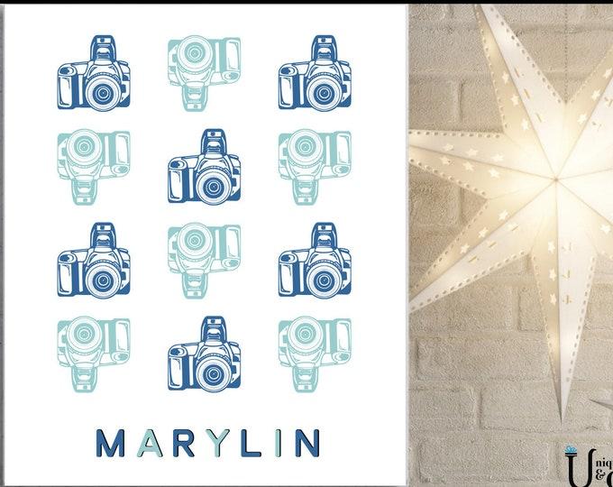 Custom Camera Name, Wall Art, Home Decor, art prints, canvas and framed options, cards