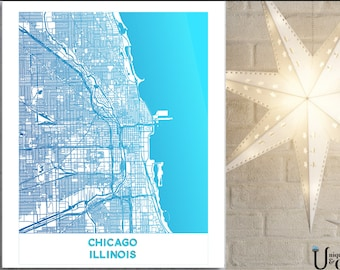 1 Chicago Minimalist Map, Wall Art, home decor, art prints, canvas and framed options, card option