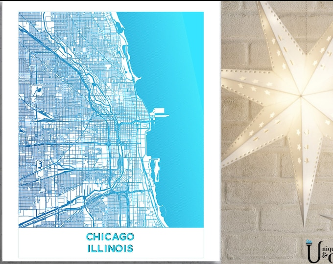 Chicago Minimalist Map, Wall Art, home decor, art prints, canvas and framed options, card option