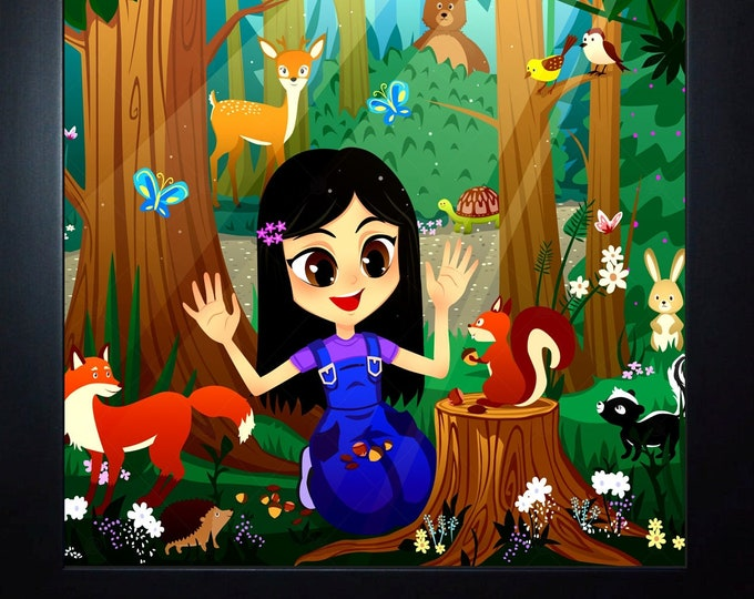 Custom Woodland Forest Girl Wall Art, home decor, art prints, canvas and framed options, card option