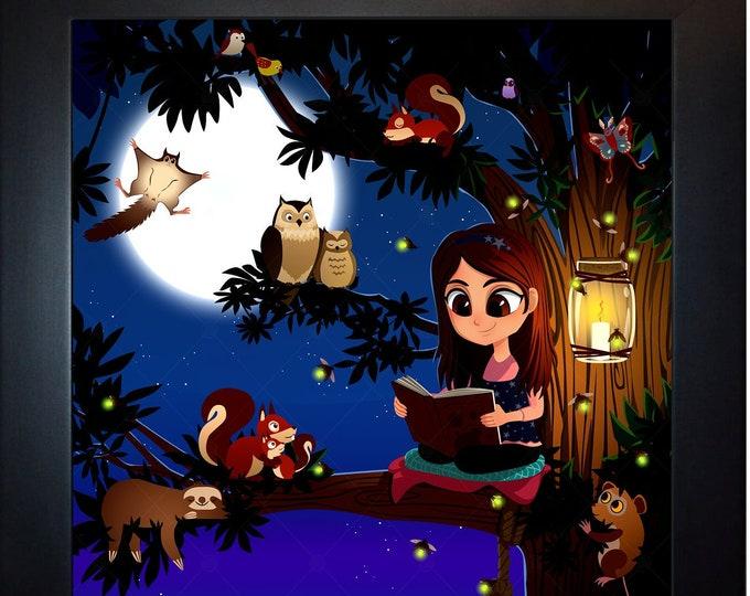 Custom Tree Girl Woodland Wall Art, home decor, art prints, canvas and framed options, card option