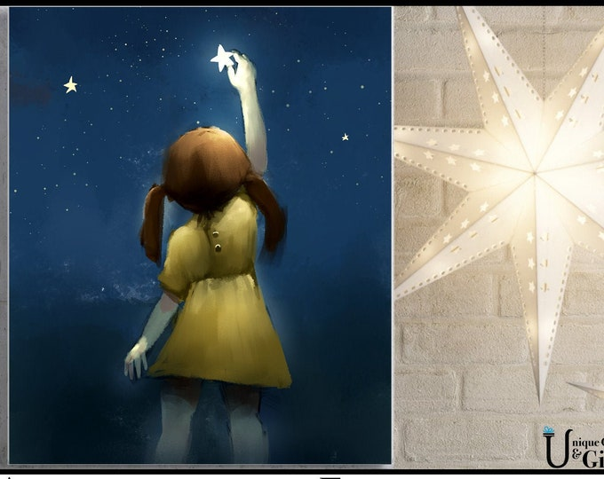 Girl In Yellow Reach For A Star, Wall Art, home decor, art prints, canvas and framed options, card option